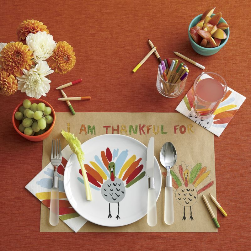 Happy Turkey Melamine and Acrylic 3-Piece Place Setting in 2018