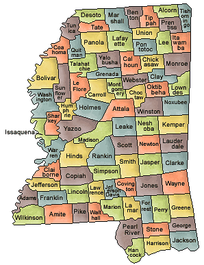 Currie Creek Is Somewhere Between George And Jackson Counties - Mississippi county map
