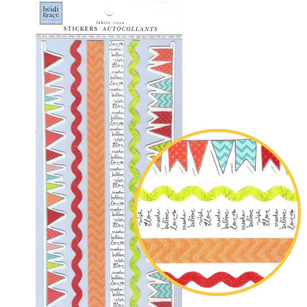 Garland Border Fabric Trim Stickers for Scrapbooking and Decorating in Shades of Red