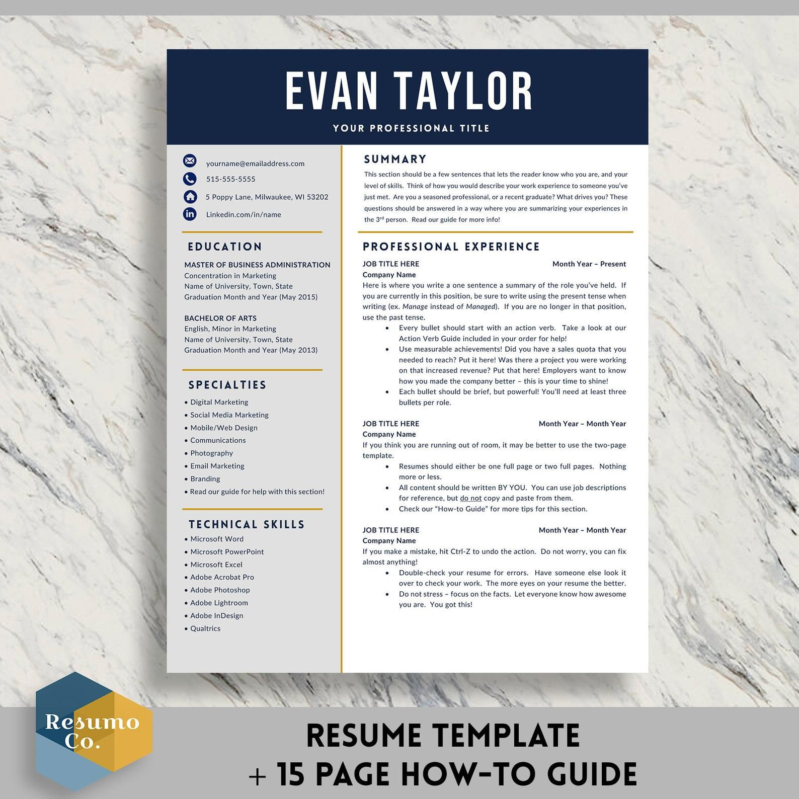 Resume Template for Word 1 & 2 Page Professional Resume