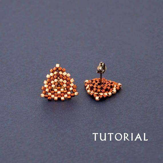 Seed Bead Stud Earring Tutorial Simple Beading Pattern Weaving