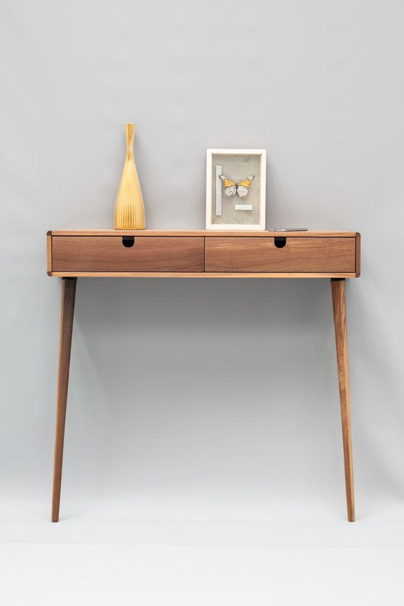 console hallway table walnut wood floating with 2 legs