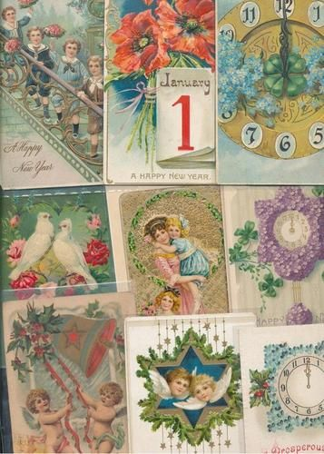 Lot of 54 Vintage New Year\'s Day Postcards c. 1910- 24 with old ...