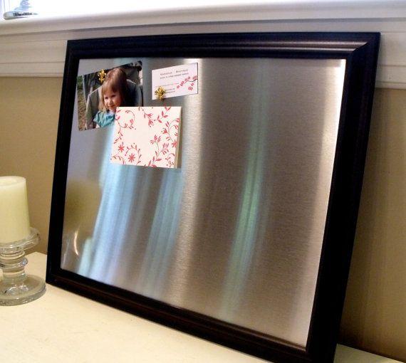 Large, framed magnetic bulletin board, memo board, stainless steel ...