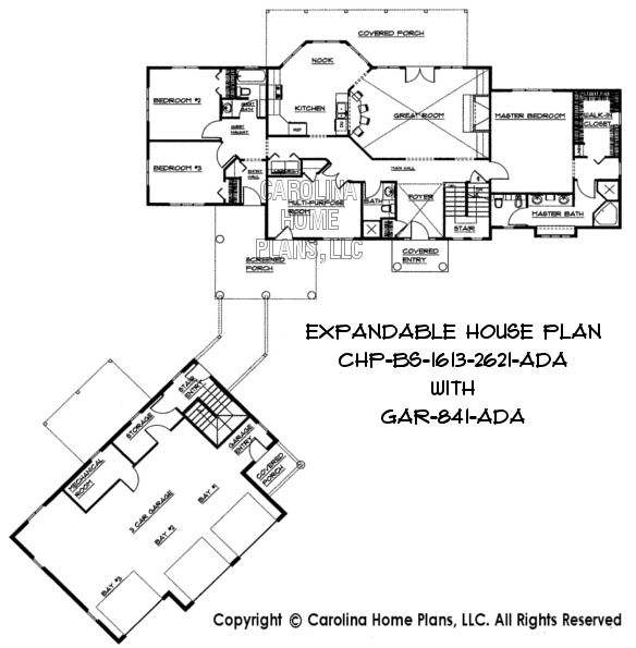 Adaptable expandable floor plan for building in phases