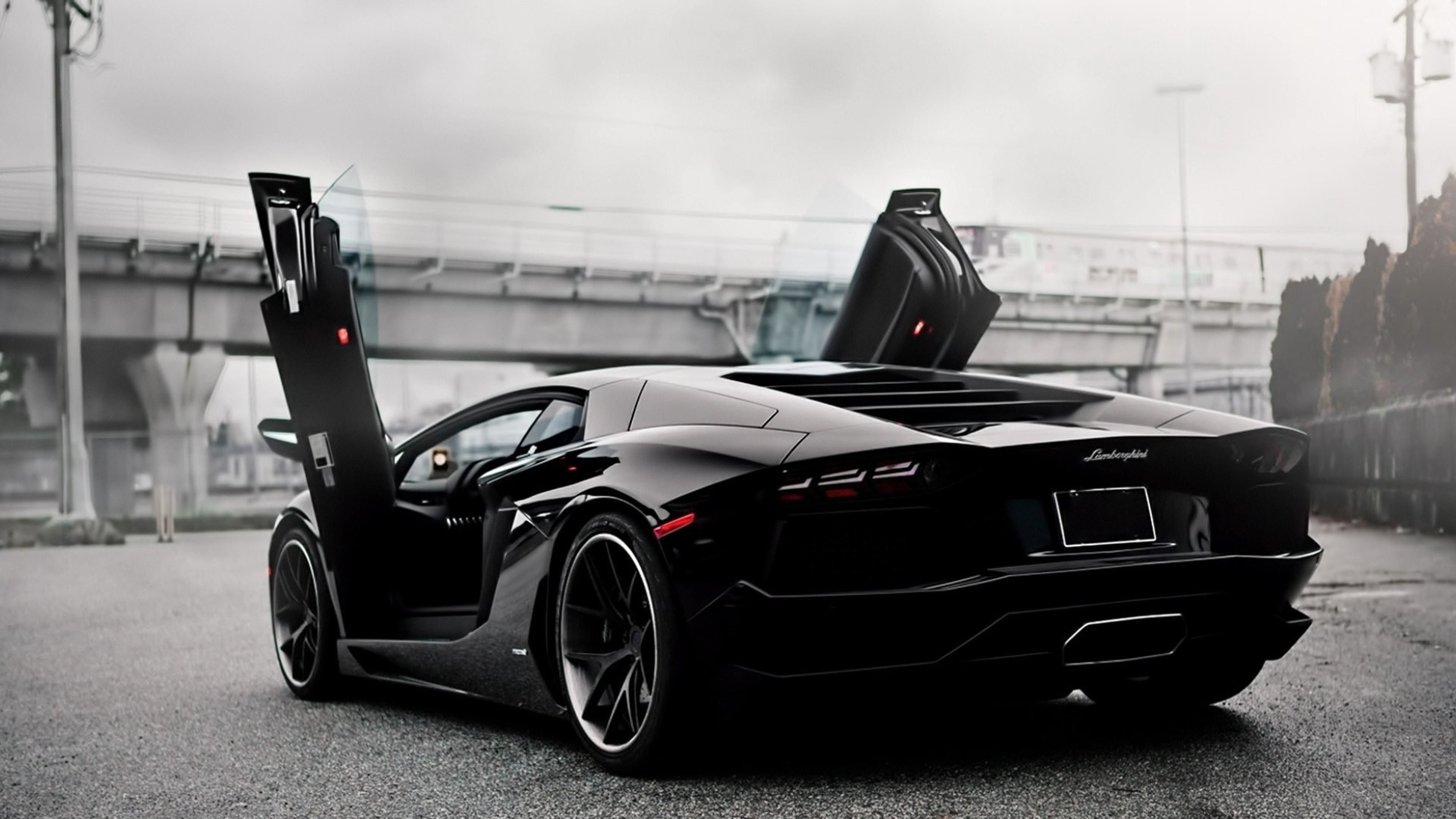 Black Lamborghini Aventador Doors Up 4k wallpaper