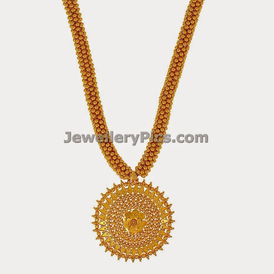 Beautiful 22 carat gold chains with matching pendant designs latest - Beautiful 22k Long Gold Necklace With Small Round Balls And Big Pendant Latest Jewellery Designs