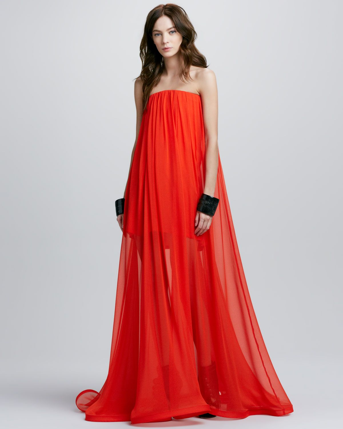 Alexis Red Orange Miranda Strapless Sheerskirt Maxi Dress