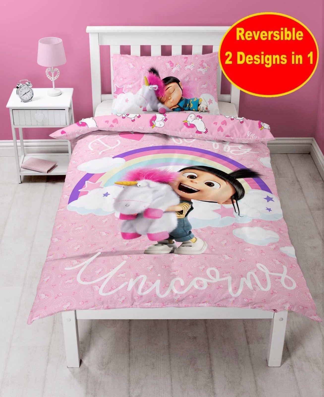 Despicable Me Minions Pink Unicorn Single Duvet Quilt Cover Set