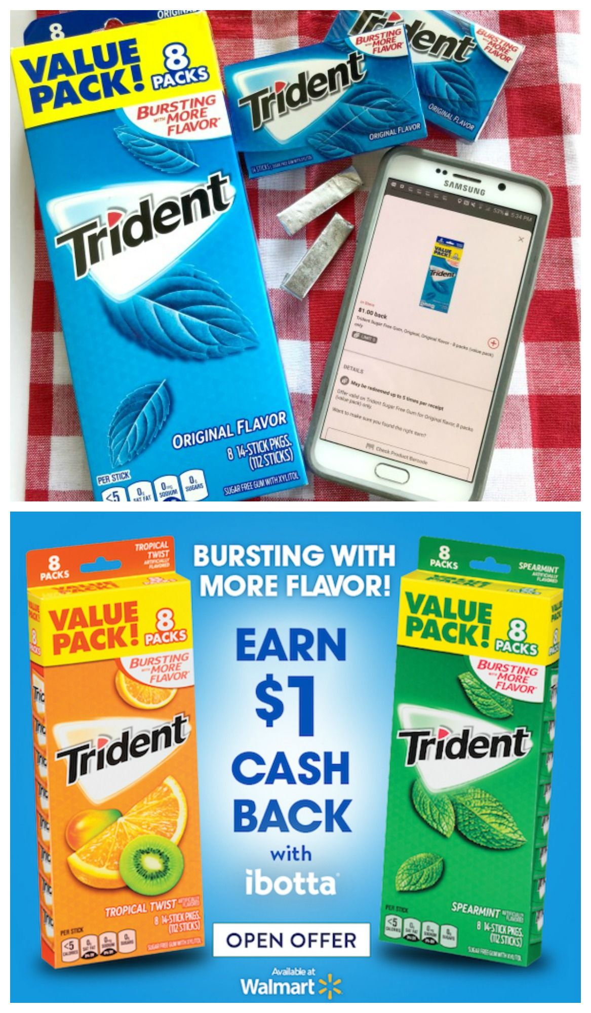 Trident at Walmart 1 Ibotta Cash Back Offer + a