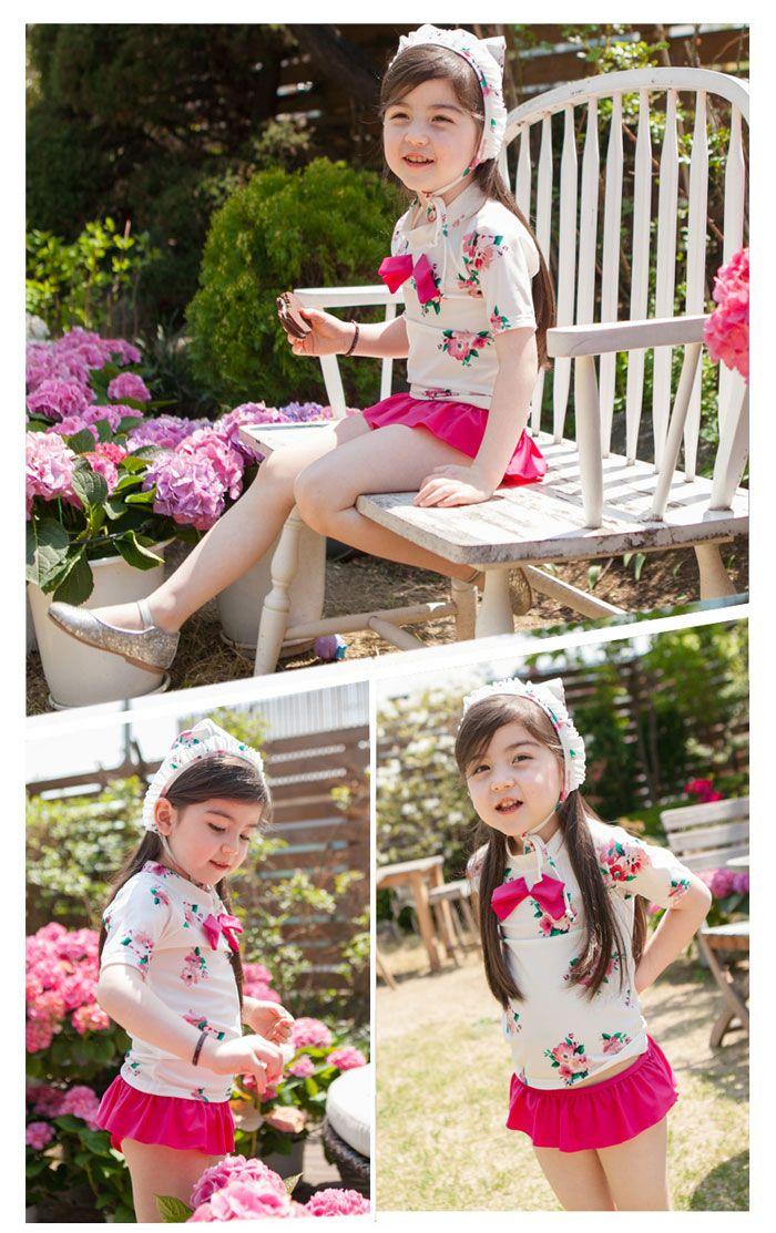 9a8d009332f 【楽天市場】韓国子供服 キッズ 水着 女の子 セパレート ラッシュガード 花柄 リボン