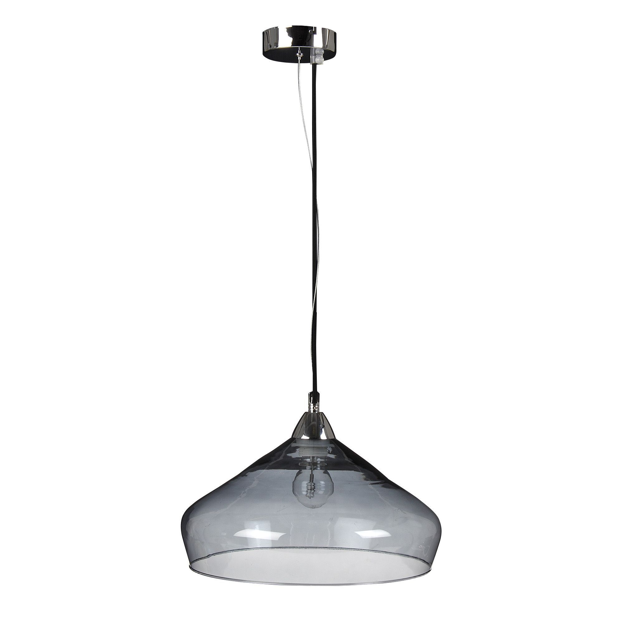 Suspension verre fum d30cm transparent estambul les for Luminaire suspension salon