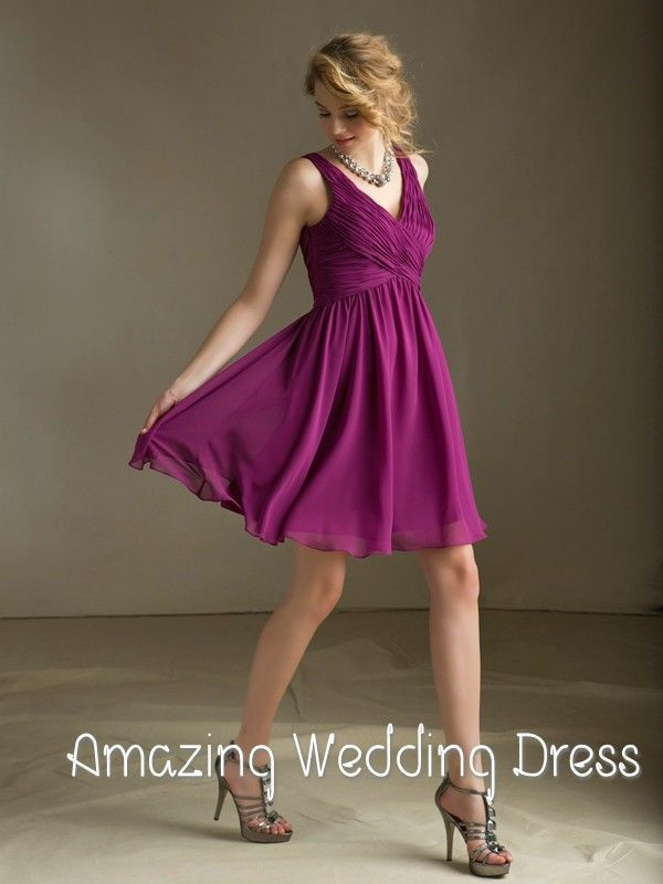 2014 New Arrivals Simple V Neck Knee Length Ruffles Short Chiffon Bridesmaid Dress Price: US $105.00 / piece