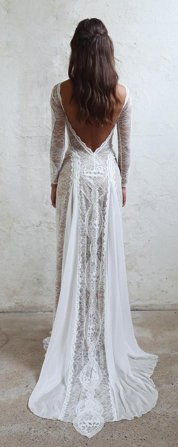 Lace wedding dress open back say yes dress  bohemian lace dress  Say Yes To The Dress  Pinterest  Wedding