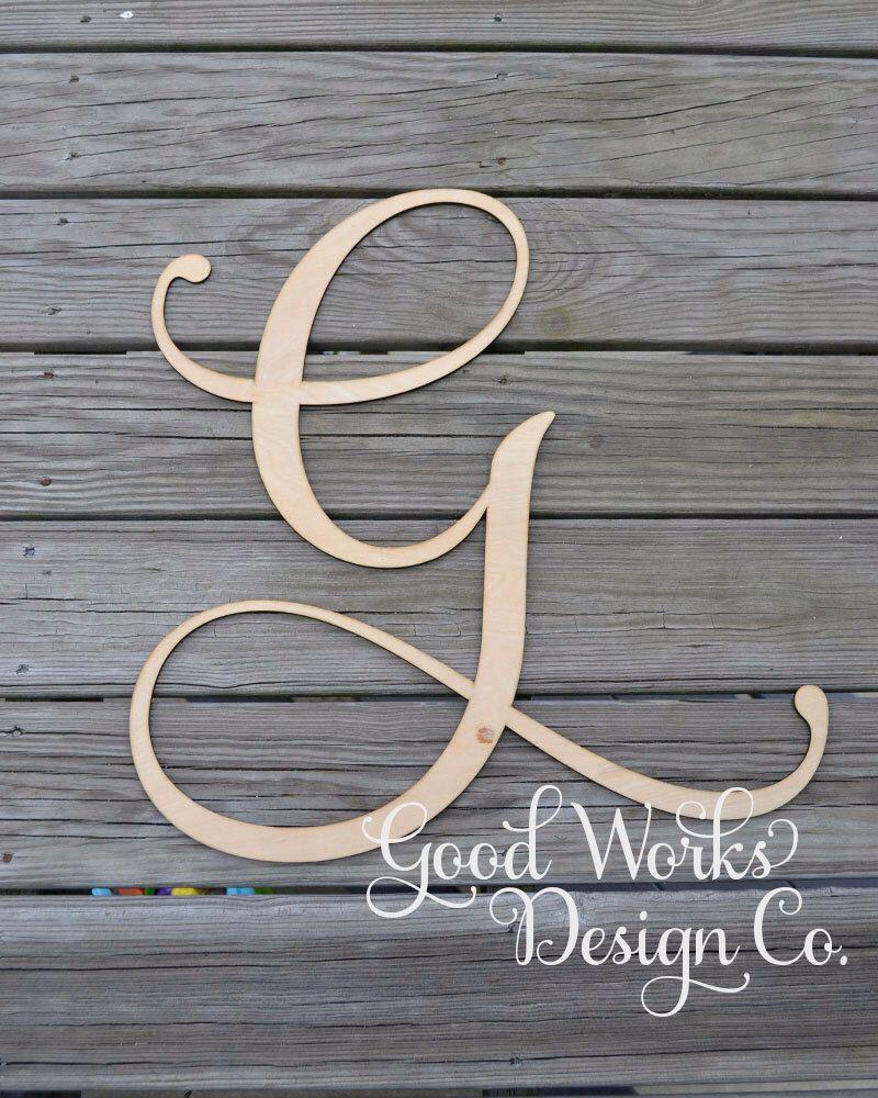 24 wooden letter unpainted monogram door hanger initial wedding monogram