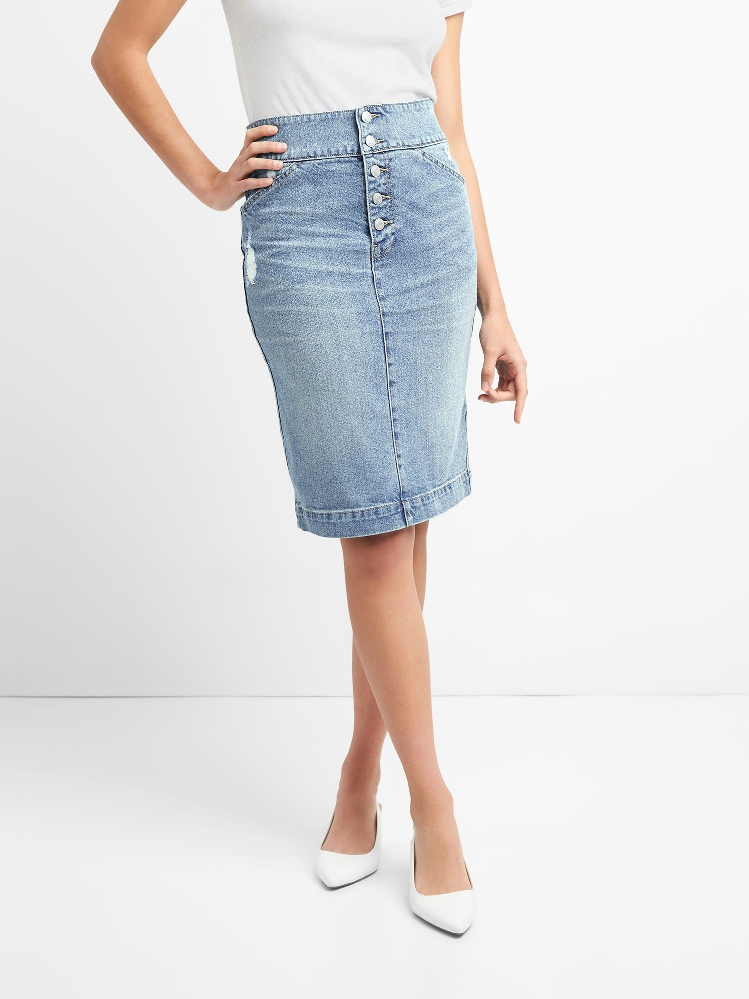 Gap Womens Denim Pencil Skirt With ButtonFly Regular 33