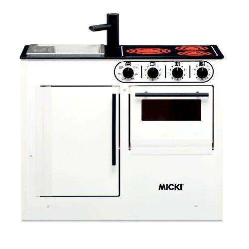 MICKI Bistro Miniküche in weiß mit Herd, Spüle und Backofen, Maße - miniküche mit kühlschrank