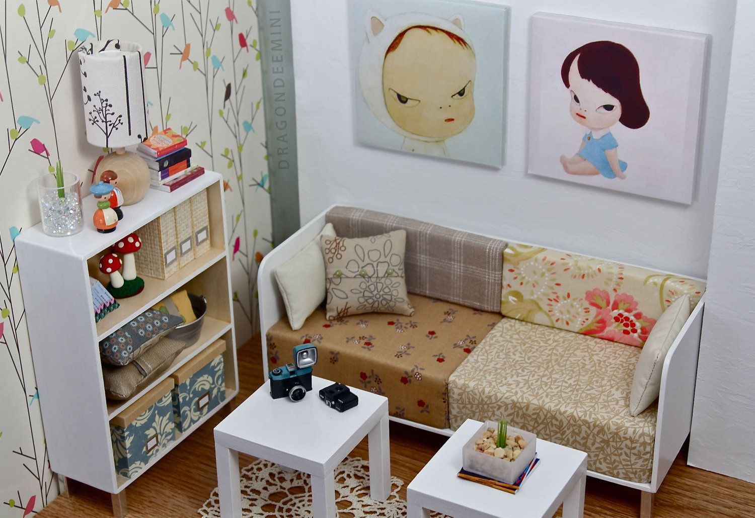 Modern miniatures playscale quirky living room live like for Quirky living room ideas