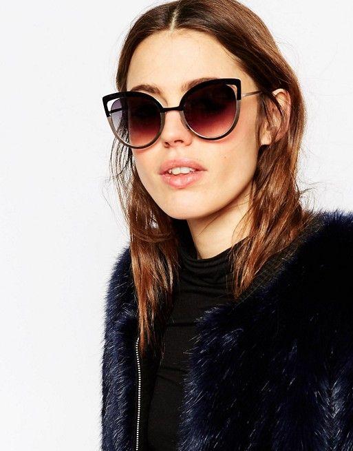 belle et charmante mode designer nombreux dans la variété Lunettes de soleil métalliques yeux de chat avec monture ...