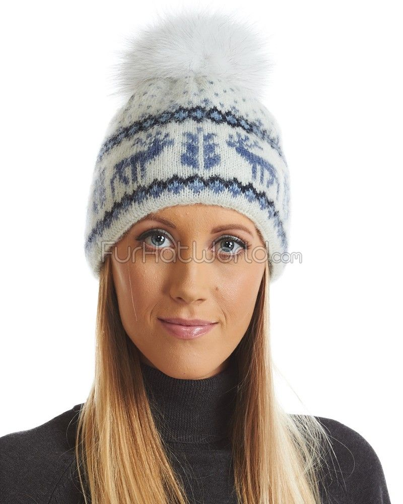 ad6dd37e Icelandic Knit Wool Beanie Hat with Blue Fox Pom Pom | // Beautiful ...