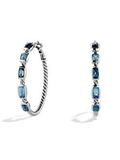 David Yurman Confetti Hoop Earrings With Blue Topaz And Hampton