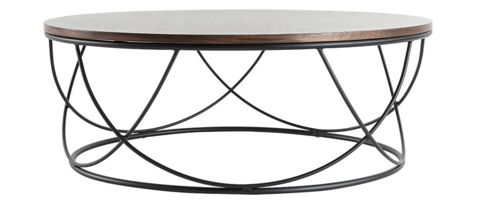 Table Basse Ronde Bois Et Metal Noir D80 X H30 Cm Lace Miliboo En 2020 Table Basse Ronde Bois Table Basse Bois Metal Table Basse Ronde