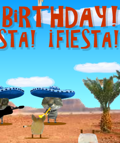 Happy Birthday Fiesta ECard Cats And Mice Make A Great Ensemble Cha Your Way To The Party
