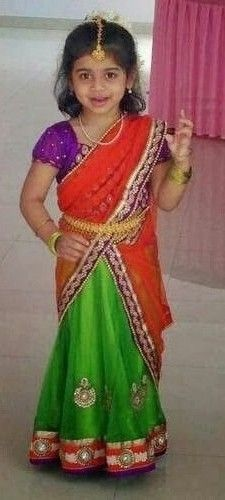 9f9bf83698 Cute little girl in green and red half saree, I can see sitting pillows  w/this material!