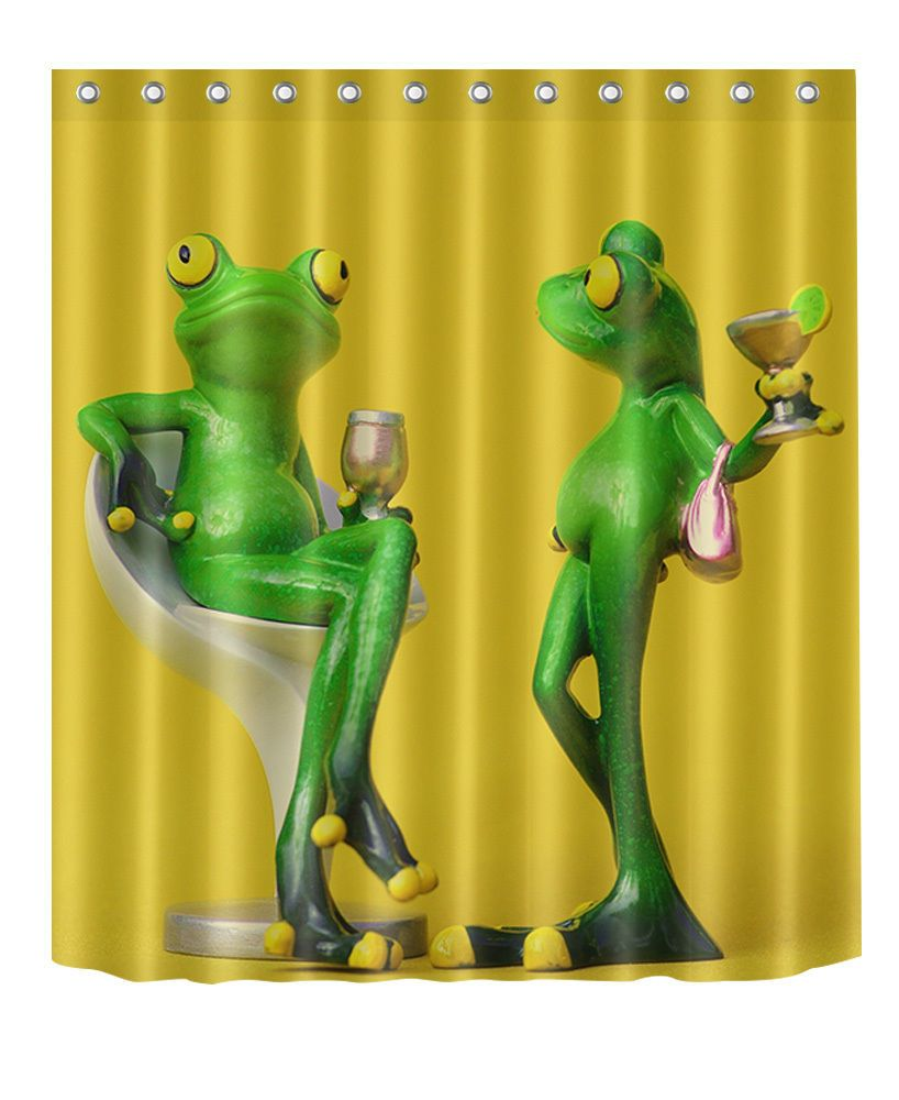 Frog Bathroom Waterproof Polyester Fabric Shower Curtain 12 Hooks 2212