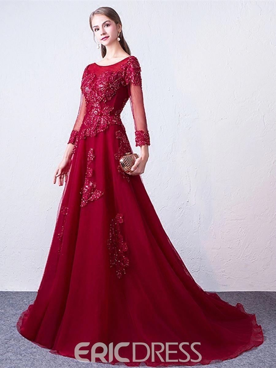 a5475921cbb Ericdress 3 4 Sleeve Applique Chiffon A Line Long Evening Dress ...