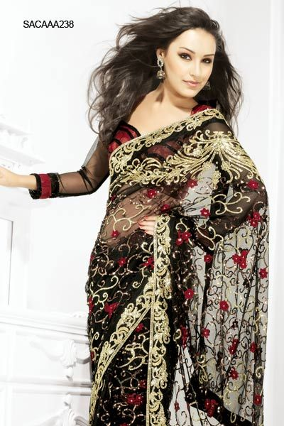 $182 Vivid Black Net Saree from cbazaar   Desi Fashion ...