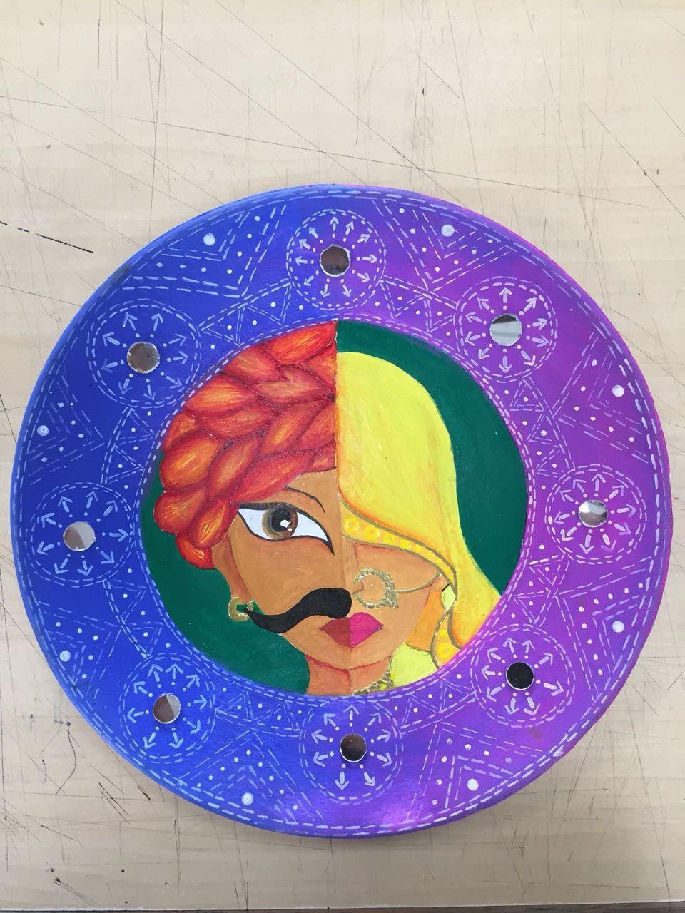 Painting On Earthen Plate Tawa Art Earthenware Acrylic Acrylicpainting Mirrorwork Indian Indi Disney Art Diy Mixed Media Art Canvas Folk Art Painting
