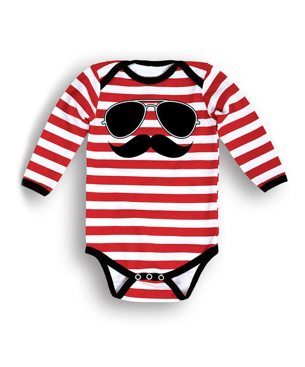 Look at this Black, White & Red Sunglasses Mustache Bodysuit - Infant on #zulily today!