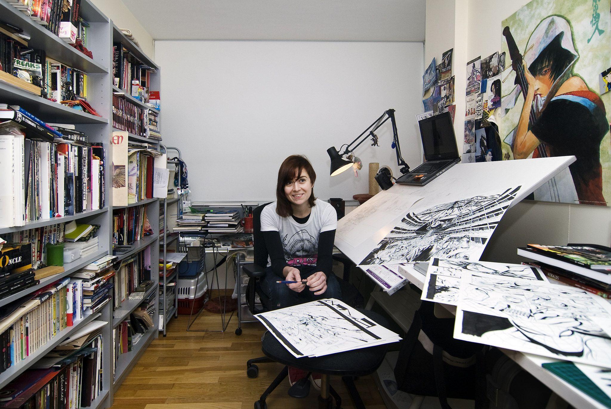 Emma Rios Artist workspace, Art studio organization, Art