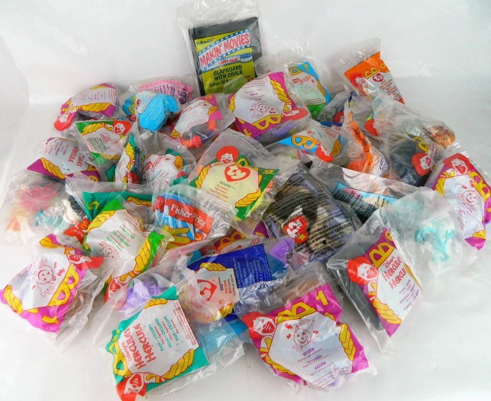 50 Sealed Vtg 1990s McDonalds Kids Happy Meal Toy Lot Ty Beanie Baby Hercules…