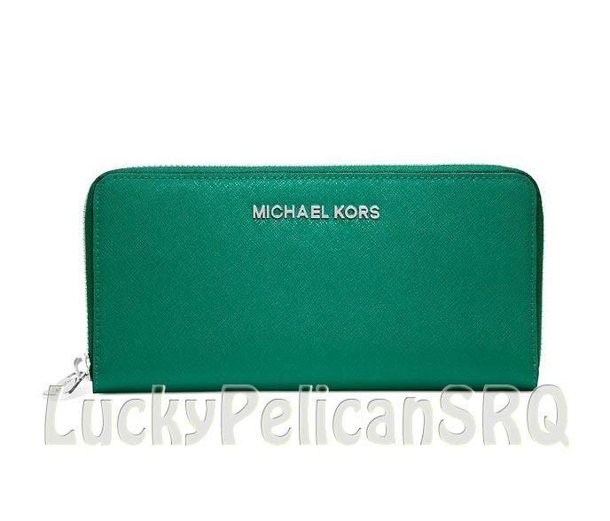 Michael Kors Jet Set Travel Zip Around Continental Wallet Aqua Green NWT #MichaelKors #Continental