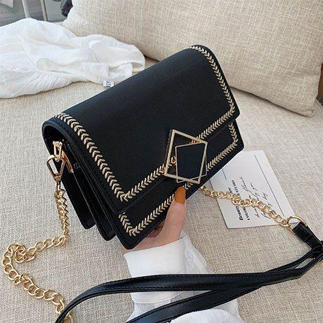 Photo of Scrub Leather Crossbody Bags Small Chain Shoulder Messenger Bag Travel Handbags Purses Color Black Size 19cmx13.5cmx8cm