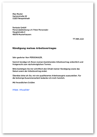 Kundigungsvorlagen Fur Arbeitsvertrage
