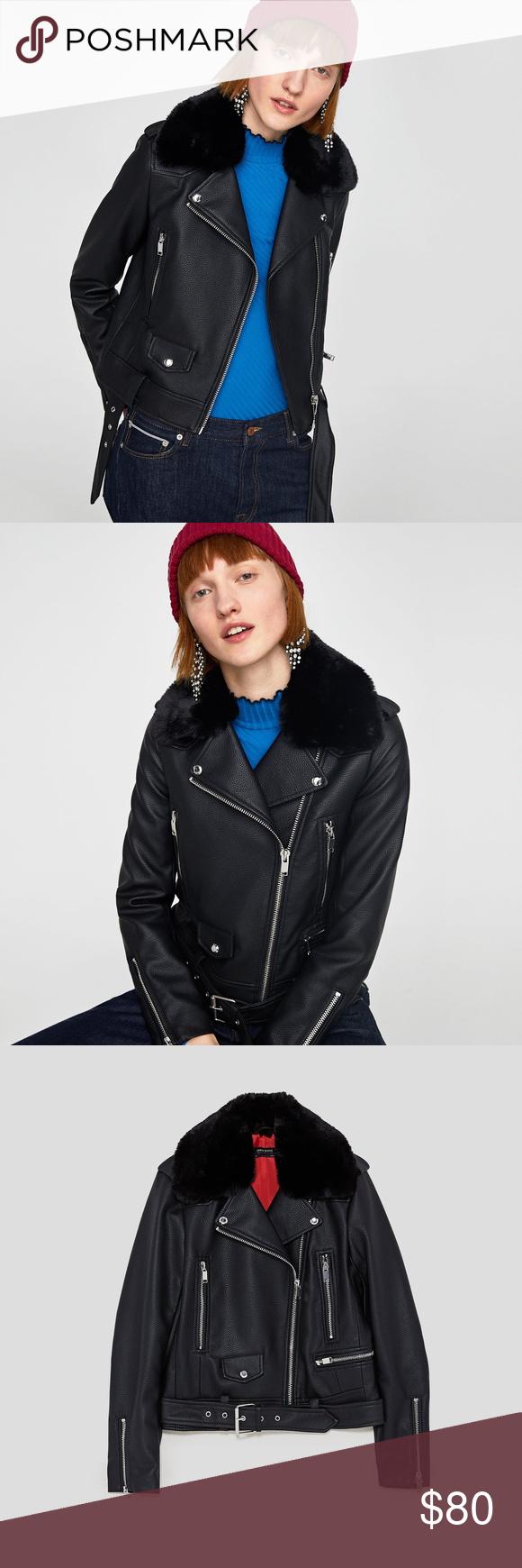 ZARA FAUX LEATHER BIKER JACKET Faux leather biker jacket