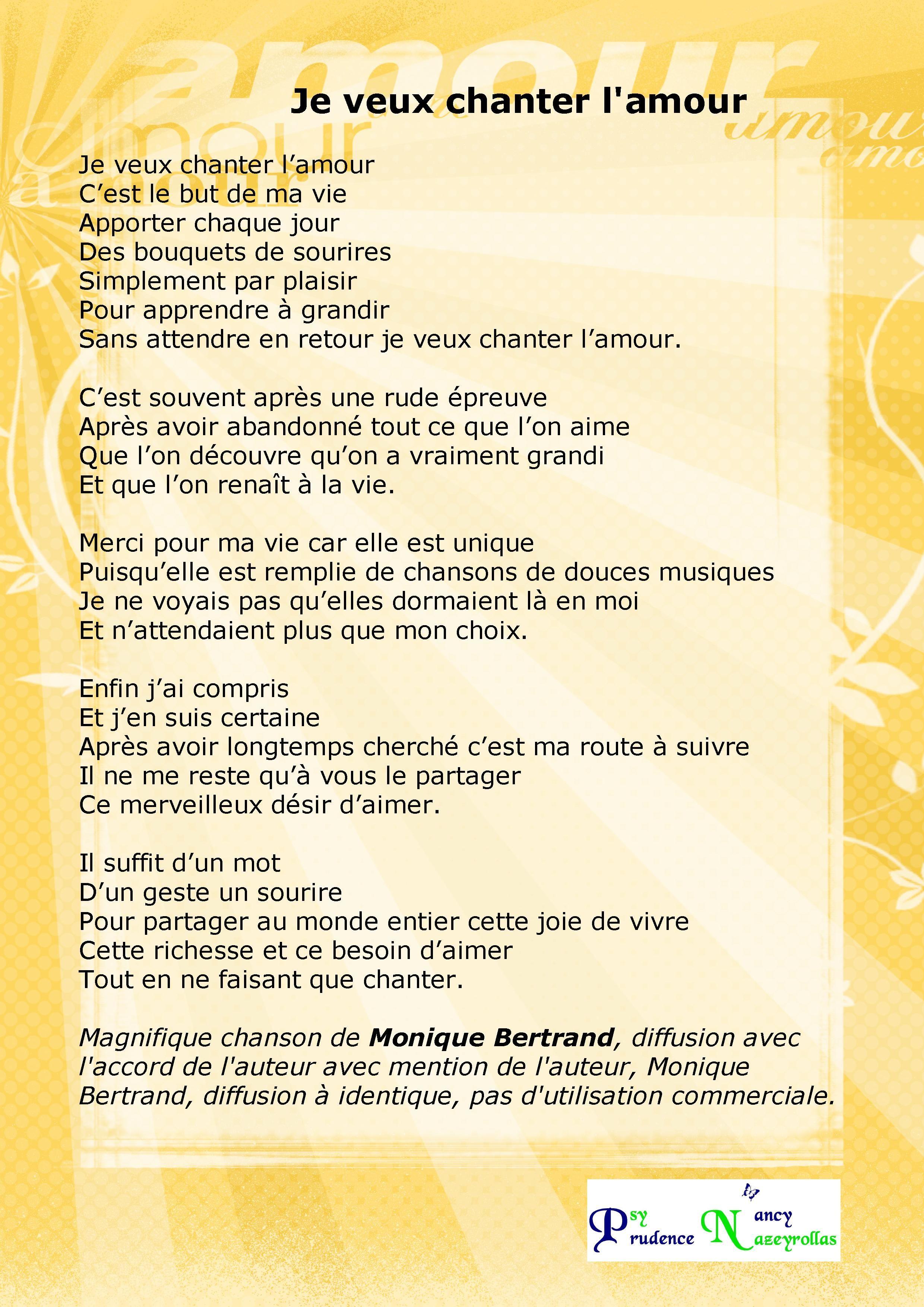 Chanson Si Je Vous Aime : chanson, Chanter, L'amour, Monique, Bertrand, Veux,, Amour,, Citation, Bonheur