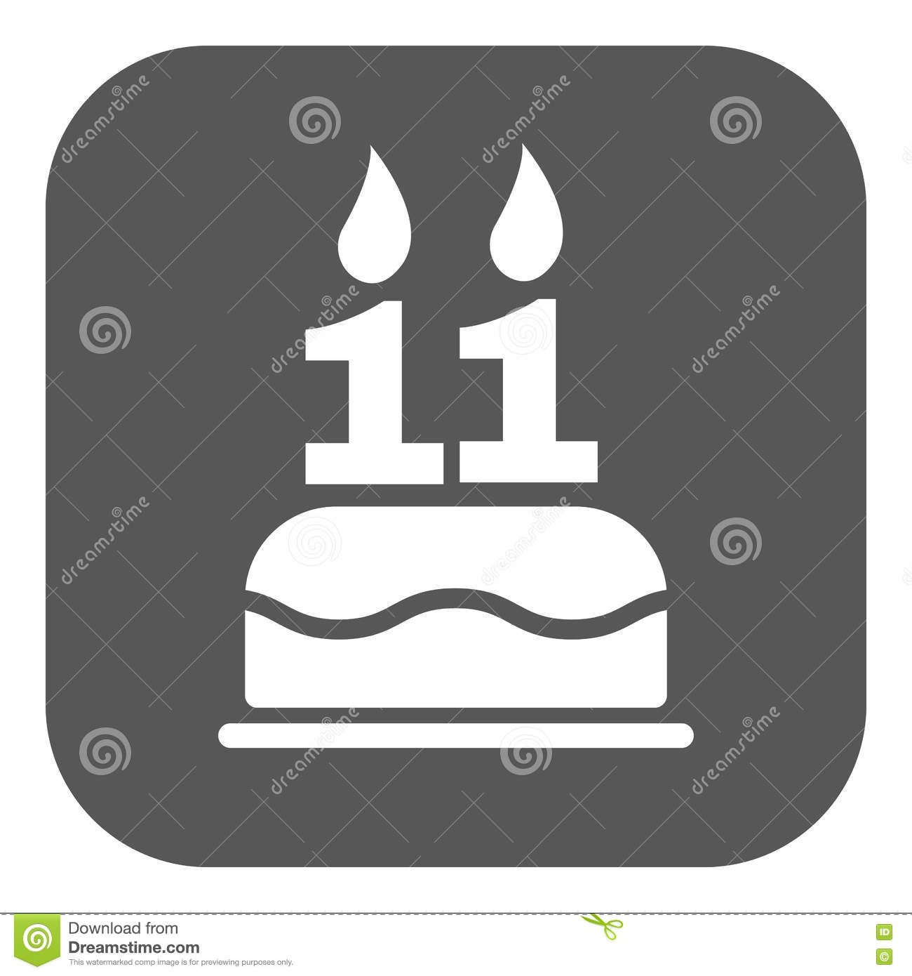Photo About The Birthday Cake With Candles In The Form Of Number 11