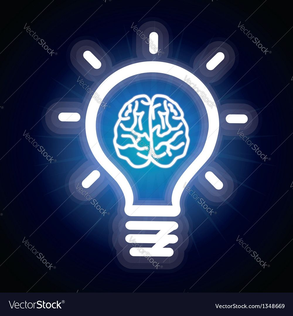 Light bulb and brain icon vector image on VectorStock
