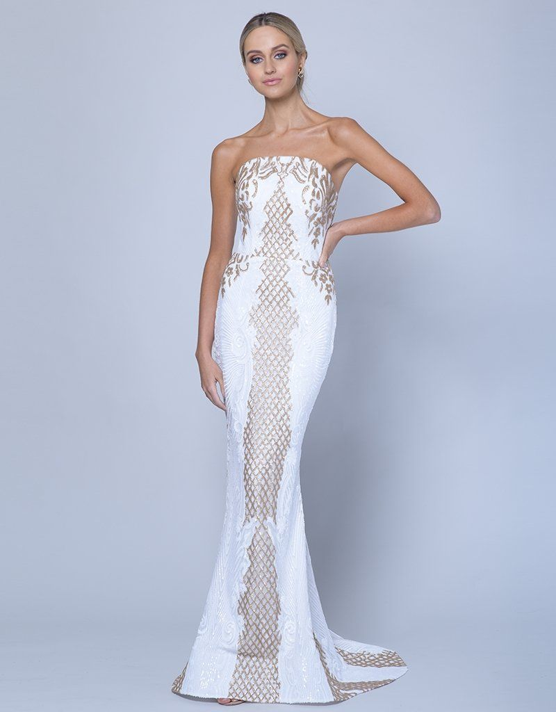 99136d31bd434 Nahema strapless pattern sequin gown with train b35d22-lt in 2019 ...