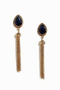 Gold and Blue Rhines     Gold and Blue Rhinestone Tassel Earrings//