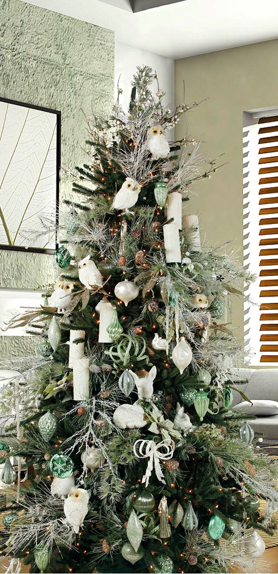 Christmas Tree Frosted Greens & Owls | Christmas tree ...