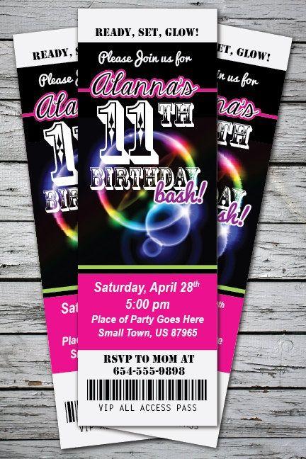 Invitaci n de cumple neon Cumple Pinterest – Ticket Birthday Party Invitations