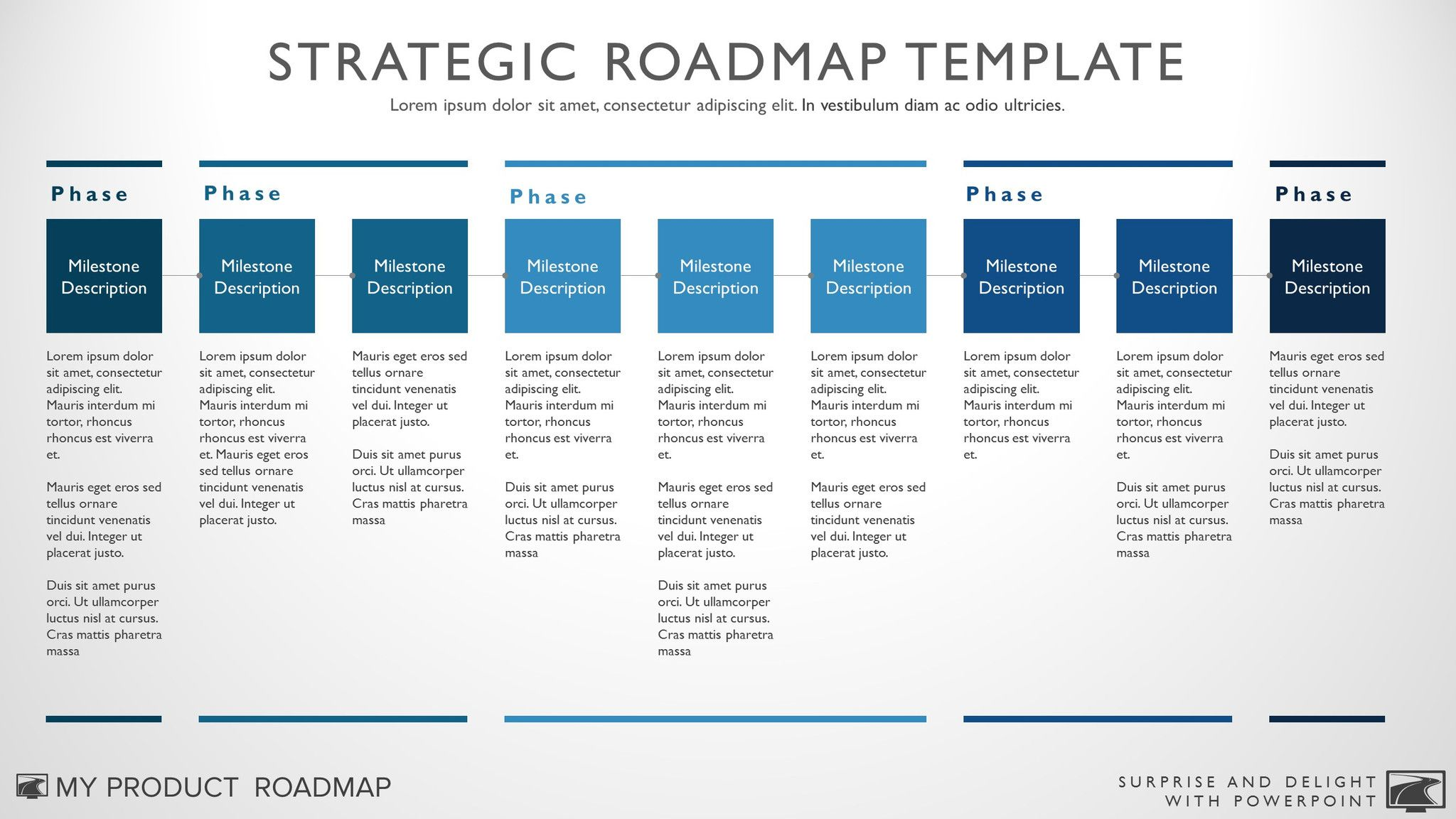 Nine Phase Business Timeline Roadmapping Presentation Template