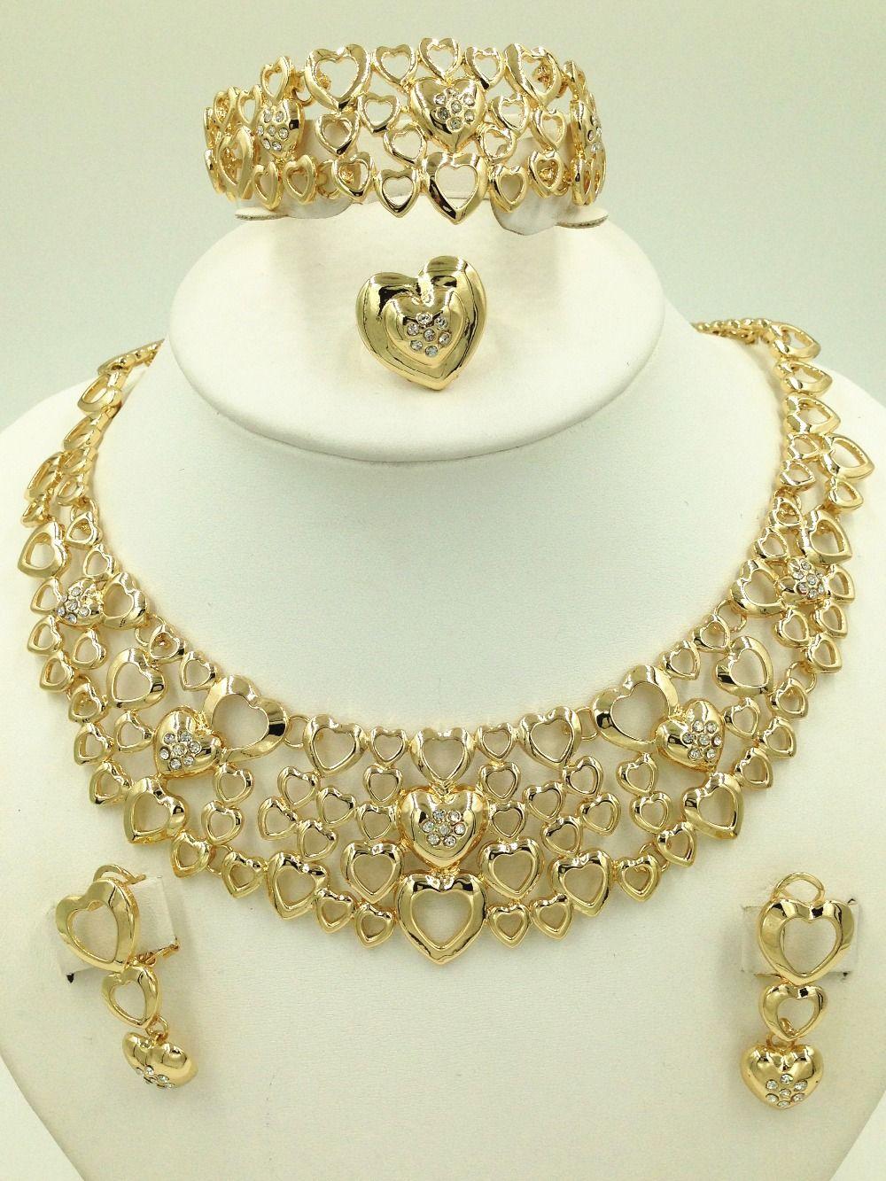 Nigeria gold plated wedding jewelry sets fashion women Dubai gold