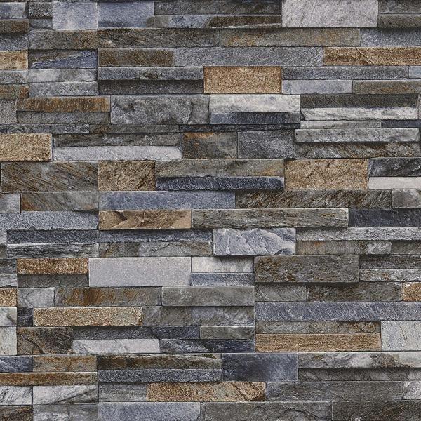 Details about Slate Stone Brick Effect Wallpaper 3D Vinyl