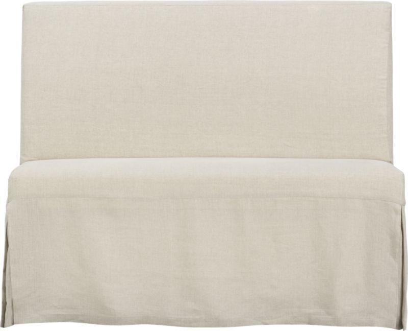 Charming Slip Bench With Linen Slipcover | Crate And Barrel (possibly A Smidge Too  Big To